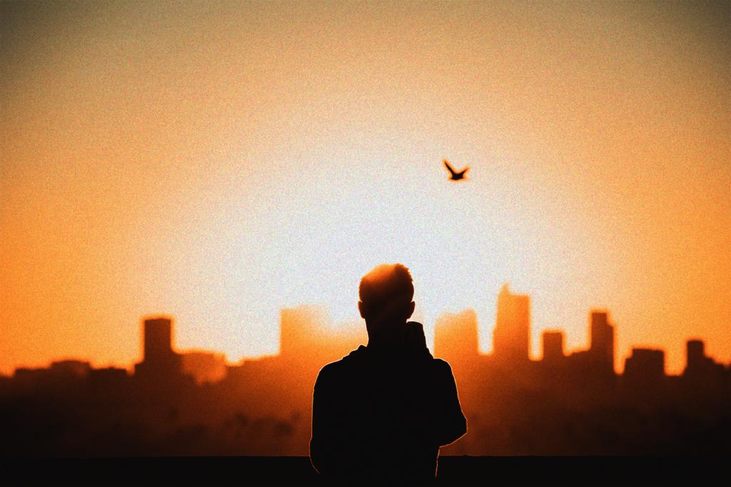 中田 暖人:夕日を眺める人